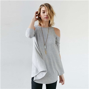 victoriaswing Knitting Off-Shoulder 3/4 Sleeve Long T-Shirt