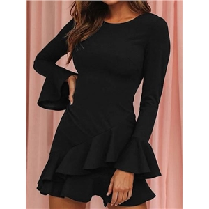 Black Ruffle Trim Flare Sleeve Chic Women Mini Dress