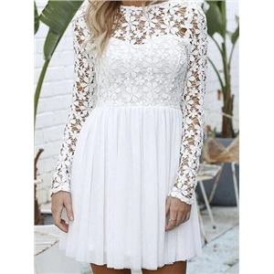 White Lace Panel Open Back Long Sleeve Chic Women Mini Dress