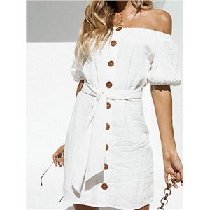 White Cotton Off Shoulder Button Placket Front Chic Women Mini Dress