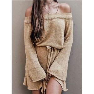 Khaki Off Shoulder Flare Sleeve Chic Women Knit Mini Dress