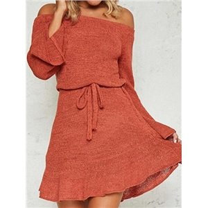 Orange Off Shoulder Flare Sleeve Chic Women Knit Mini Dress