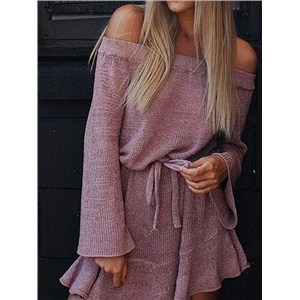 Purple Off Shoulder Flare Sleeve Chic Women Knit Mini Dress