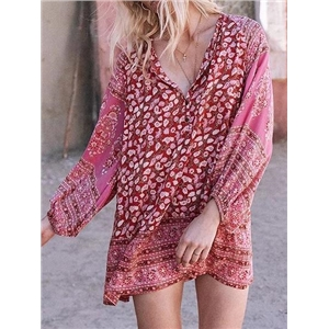 Red Cotton V-neck Floral Print Puff Sleeve Chic Women Mini Dress