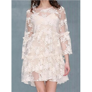 White Long Sleeve Chic Women Lace Mini Dress And Cami Lining