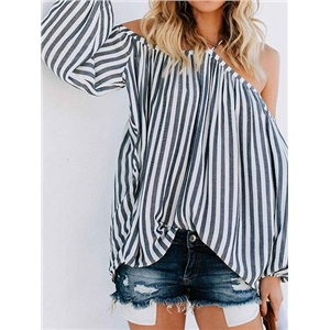 Gray Stripe Chiffon Halter Cold Shoulder Puff Sleeve Chic Women Blouse