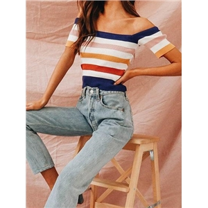 Polychrome Stripe Ribbed Off Shoulder Chic Women Blouse