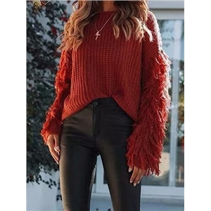 Red Tassel Embellished Long Sleeve Chic Women Knit Sweater