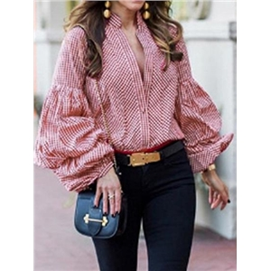 Red Plaid V-neck Puff Sleeve Chic Women Shirt