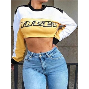 White Cotton Letter Print Long Sleeve Chic Women Crop Top