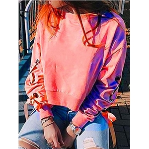 Pink Eyelet Lace Up Side Long Sleeve Chic Women Crop Sweatshirt