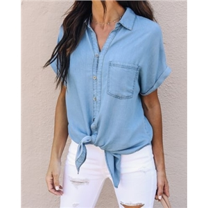 Denim Button Through Knotted Front Blouse