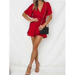 Red V-neck Drawstring Front Ruffle Hem Chic Women Mini Dress