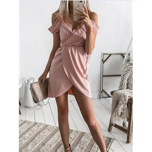 Pink V-neck Lace Panel Trim Chic Women Cami Mini Dress