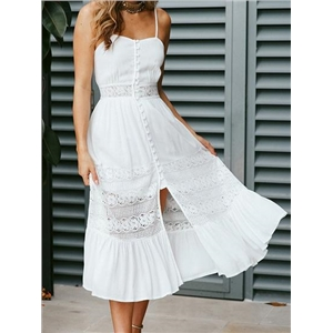 White Lace Panel Open Back Chic Women Cami Midi Dress