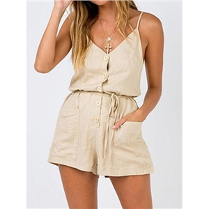 Beige Cotton Spaghetti Strap V-neck Chic Women Romper Playsuit