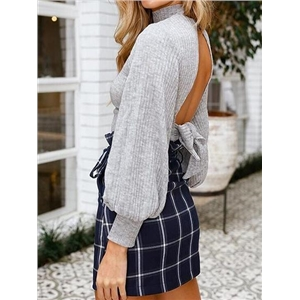 Gray Ribbed High Neck Open Back Puff Sleeve Chic Women Blouse