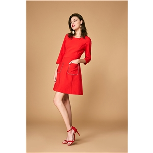 Round neck seven-point sleeve red dress female autumn simple fashion a word skirt