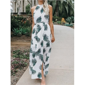 White Halter Leaf Print Sleeveless Chic Women Maxi Dress