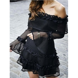 Black Off Shoulder Ruffle Hem Flare Sleeve Chic Women Lace Mini Dress
