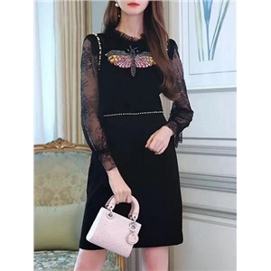 Black Rhinestone Dragonfly Pearl Embellished Lace Dress