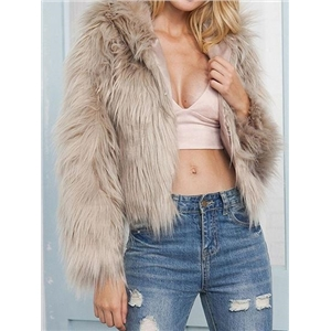 Khaki Faux Fur Long Sleeve Chic Women Hoodie Coat