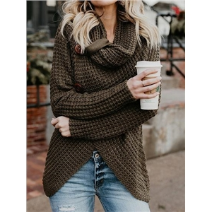 Green High Neck Long Sleeve Chic Women Knit Sweater