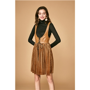 Pu stitching corduroy strap dress high collar long sleeve two-piece European and American temperament skirt