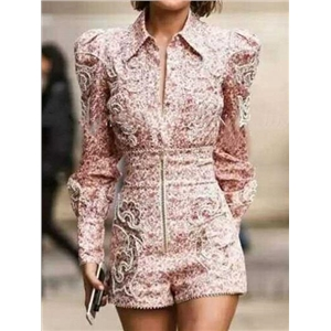 Red Floral Print Puff Sleeve Chic Women Romper Playsuit
