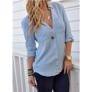 Fashion Long Sleeve Button down Denim Shirt with Pockets