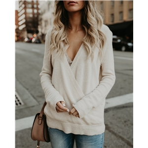 Knitwear cross size large size women's sweater bottoming shirt