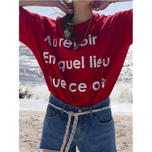 Red Cotton Letter Print Chic Women T-shirt