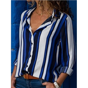Dark Blue Stripe Long Sleeve Chic Women Shirt