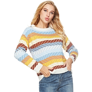 Striped Round Neck Long Sleeve Loose Pullover Sweater