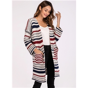 Striped Long Sleeve Open Front Cardigan With Pockets