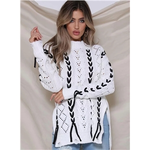 White Round Neck Long Sleeve Lace-Up Hollow Out Pullover Sweater