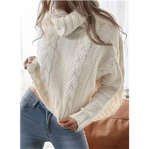 Apricot Womens Casual Turtleneck Long Sleeve Short Pullover Sweater