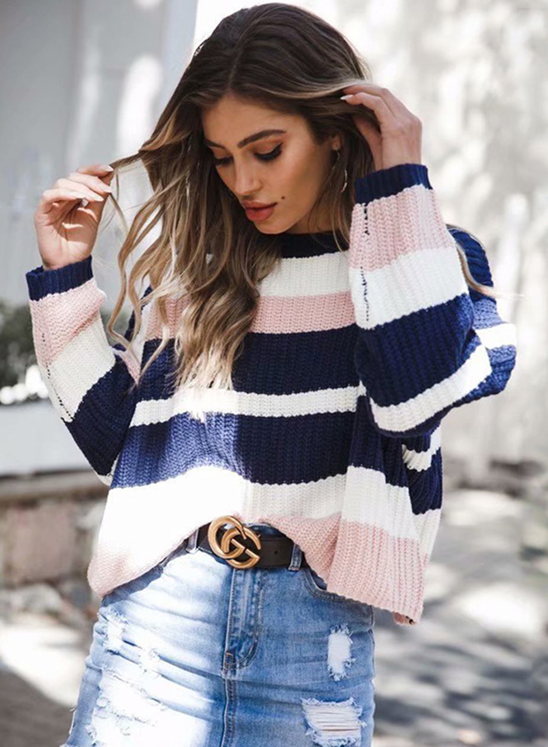 2849d6fcbd52ce Womens Striped Round Neck Long Sleeve Loose Pullover Sweater ...