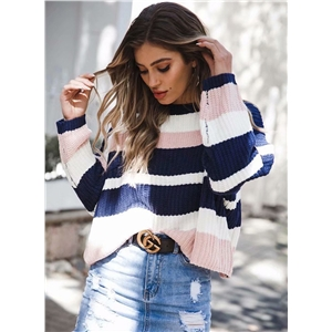 Womens Striped Round Neck Long Sleeve Loose Pullover Sweater