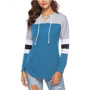 Long Sleeve Lace-Up Neck Color Block Tee