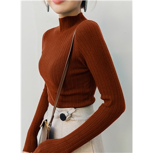 Casual Long Sleeve High Neck Slim Pullover Sweater