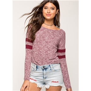 Pink Womens Casual Striped Round Neck Long Sleeve Loose Tee