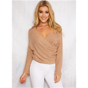 Cross V Neck Solid Color Pullover Knit Sweater