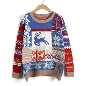 Long Sleeve Christmas Deer Printed Knit Sweater