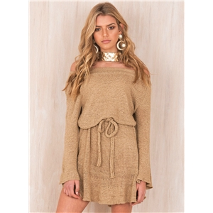 Fashion Off Shoulder Long Sleeve Sweater Dress with Belt