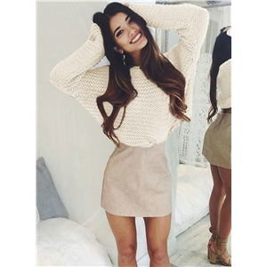 Solid Long Sleeve Pullover Knit Loose Sweater