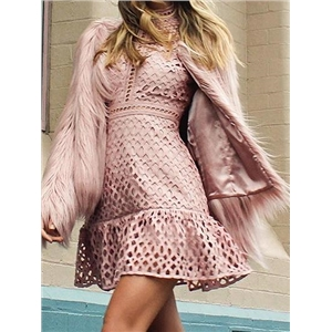 Pink Ruffle Hem Long Sleeve Chic Women Lace Mini Dress