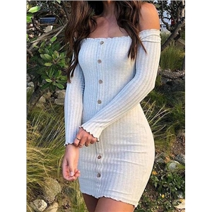 Cotton Blend Off Shoulder Long Sleeve Chic Women Mini Dress