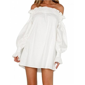 White Off Shoulder Frill Trim Puff Sleeve Chic Women Mini Dress
