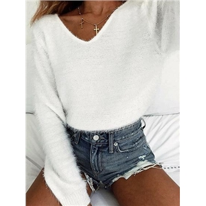 White Long Sleeve Chic Women Knit Crop Sweater